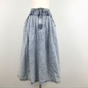 Vintage Jordache jean Acid Wash midi skirt pleated